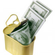 Dollar Notes in Tin Can — Stock Photo