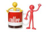 Coffee Mug and Rubber Figures — Stock Photo
