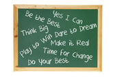 Blackboard with Inspiration Messages — Stock Photo