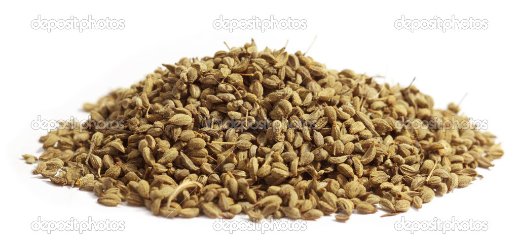 Herbal ajwain seeds over white background — Stock Photo #8179588