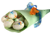 Ovos de páscoa no saco de papel — Foto Stock