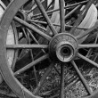 Old Wooden Wagon Wheels — Stock Photo #8146709