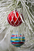 红色圣诞节装饰品 — 图库照片