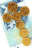 Serbian dinar coins — Stock Photo