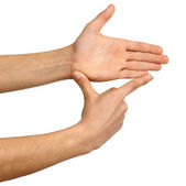 Showing measures, hand sign — 图库照片