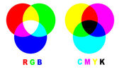Mixing colors rgb vs cmyk — Stock Photo
