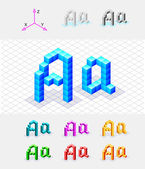 Isometric font from the cubes.Letter A. Vector — Stock Vector