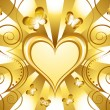 Gold Heart Holiday Background — Stock Vector