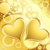 Gold Heart Shiny Holiday Background — Stock Vector