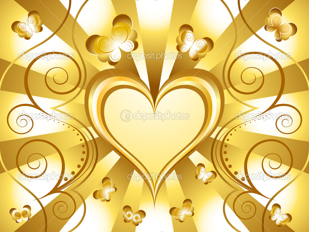 Gold Heart Holiday Background with butterfly  Stock Vector #8535512