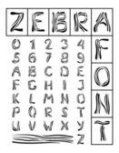 Zebra Font — Stock Vector