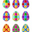 Isolated Jigsaw Puzzle Easter Eggs. Vector — Stock Vector