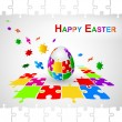 Easter Egg Jigsaw Puzzle Background. Happy Easter — Stock Vector