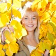 Woman looks through autumn leaves — Stock Photo