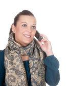 移动电话的女人 — 图库照片