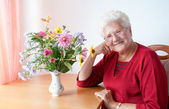 Happy old woman — Stock Photo