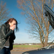 Womhas car breakdown — Stock Photo #9784630