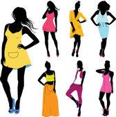Set of various beautiful model girls in dress.Lady girls — Stock Vector