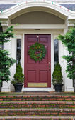 Magenta Door with Wreath — Stock Photo