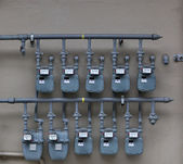 Ten Gas Meters — Stock Photo