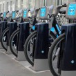 Mayor Boris Bikes in London sponsored by Barclays Bank - Stock Photo