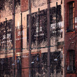 Grungy External Wall of London Warehouse - Stock Photo