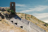 Ruins in ancient city of Pergamon, Turkey — Stok fotoğraf