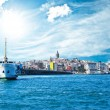 Beyoglu district historic architecture and Galata tower medieval landmark i - Stock Photo