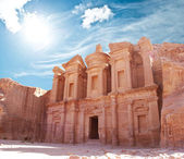 Klášter na světě divit, petra, jordánsko — Stock fotografie