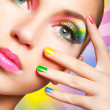 Rainbow makeup - Stock fotografie