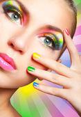 Tęczowy makijaż — Zdjęcie stockowe