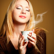 Woman with cup of Coffee - Stockfoto