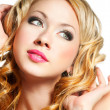 Blond woman face - Foto Stock