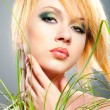 Girl with green makeup - Stockfoto