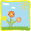 Childish cartoon floral greeting card — Image vectorielle