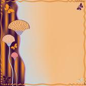 抽象的な花と蝶の招待グランジ ストライプ カード — ストックベクタ