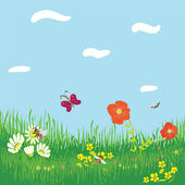 Seamless horizontal background with grass, flowers, butterfly ,bees,sky and clouds — Stock Vector