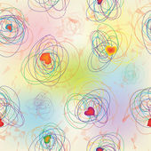 Grunge clews ve kalpleri ile sorunsuz gökkuşağı desen — Stok Vektör