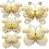 Goldish delicate butterflies isolated on white background — Stock Vector