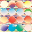 Seamless grunge background with rainbow circles and waves — Stock Vector