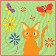 Childish cartoon applique fabric card with kitten ,butterflies and flowers — Vector de stock