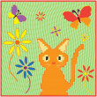 Childish cartoon applique fabric card with kitten ,butterflies and flowers — ストックベクター #8796117