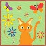 小猫、 蝴蝶与花幼稚卡通贴花布卡 — 图库矢量图片