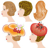 Vector set of trendy hair and hat styling — Stock Vector