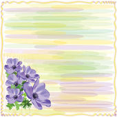 Greeting striped floral card with anemone in watercolor design — Wektor stockowy