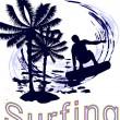 Summertime - surfing — Stock Vector