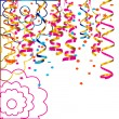 Celebratory background with confetti and paper streamers — Stock Vector