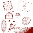 Collection of isolated grunge Valentine — Stock Vector