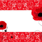 Vector floral background with red poppies — Stock Vector