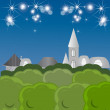 Stock Vector: Night fairy tale town